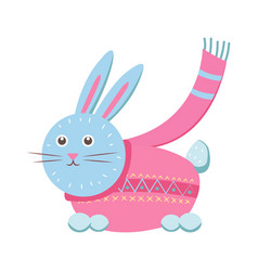 little gray hare in sweater vector image vector image