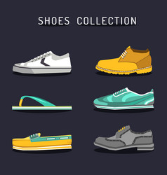 set of different shoes icons in flat style vector image