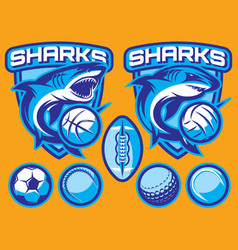 set of templates for sports badges with vector image