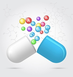 Vitamins from pharmaceutical capsules vector image vector image