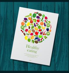 wooden background with healthy brochure vector image vector image
