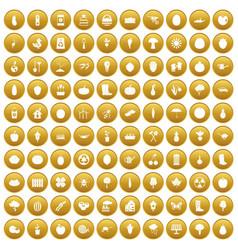 100 garden icons set gold vector