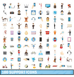100 support icons set cartoon style vector