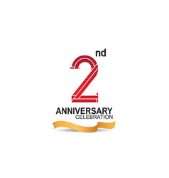 2 anniversary celebration logotype with red color vector
