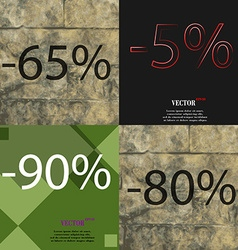 5 90 80 icon Set of percent discount on abstract vector