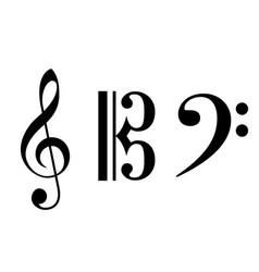 Accurate correct classic alto treble bass clefs vector