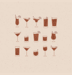 Alcohol drinks and cocktails icon flat set beige vector