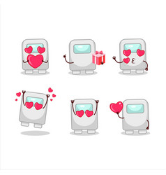 Among us white cartoon character with love cute vector