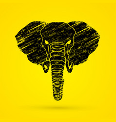 Angry elephant head front view vector