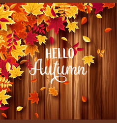 autumn falling leaves with wood nature background vector image