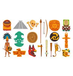 aztec and mayan civilization cultural objects set vector image