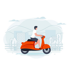 banner template with man on a motorbike vector image