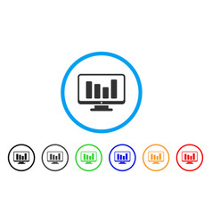 bar chart monitoring rounded icon vector image