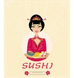 beautiful Asian girl enjoy sushi - card vector image vector image