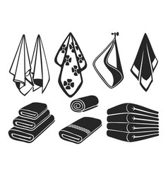 black towels set icons bath beach and vector image