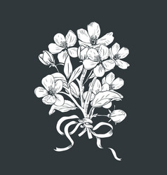 Blooming tree hand drawn botanical blossom vector