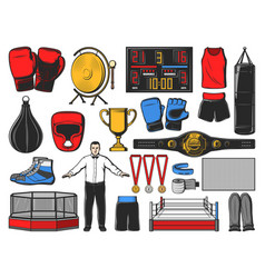 Boxing icons kickboxing or mma fight equipment vector