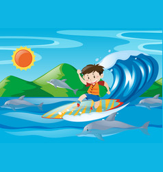 Boy surfing on the giant wave vector