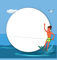 Brunette tanned man waterskiing in beautiful ocean vector