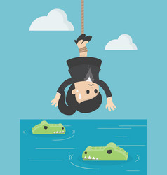 business concept cartoon human victim crocodile vector image