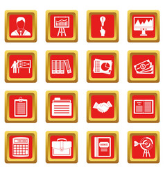 Business plan icons set red vector