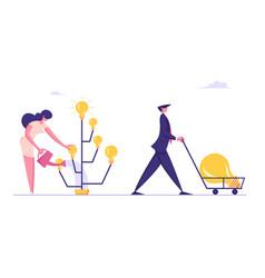Businesswoman inventor grow idea tree with light vector