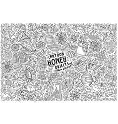 cartoon set honey theme items objects vector image