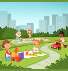 children playing in educational games outdoor vector image