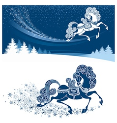 Christmas card with fairy horse vector image