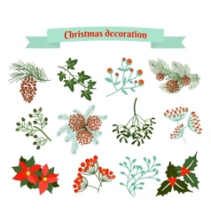 Christmas decoration set of elements vector image