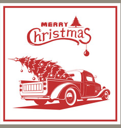 christmas truck red color image old card vector image