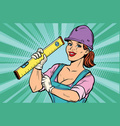 Construction worker with level woman professional vector
