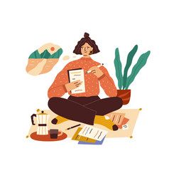 Creative young woman thinking and writing vector
