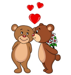 Cute Bear couple kissing vector image