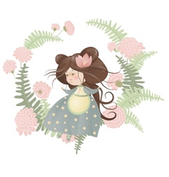 Cute girl in flower wreath vector image