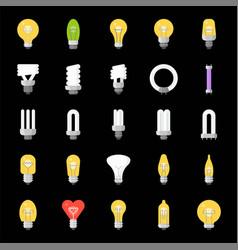 different lightbulb icon set flat design vector image