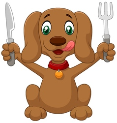 Dog Holding a Spoon and knife vector