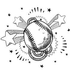 doodle pop baseball vector image