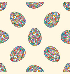 easter eggs seamless pattern abstract holidays vector image