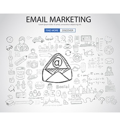 Email Marketing concept with Doodle design style vector image