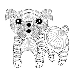 entangle hand drawing dog for antistress coloring vector image