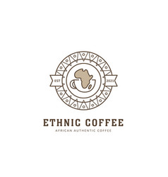 Ethnic african coffee logo in round badge icon vector