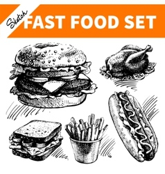 Fast food set Hand drawn sketch vector