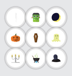 Flat icon festival set of magic gourd tomb and vector