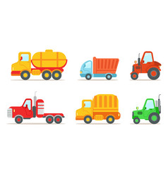 flat set of different types of vehicles vector image