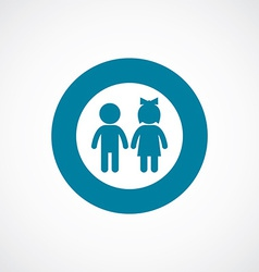 Girl and boy icon bold blue circle border vector