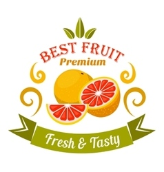 Grapefruit fruits badge for organic farming design vector image