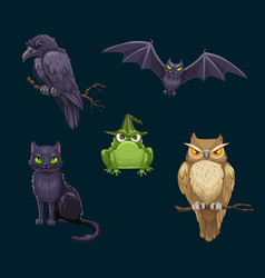 Halloween cat bat and owl crow and frog animals vector