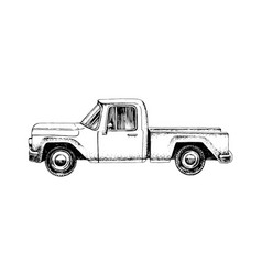 hand drawn pickup car vector image