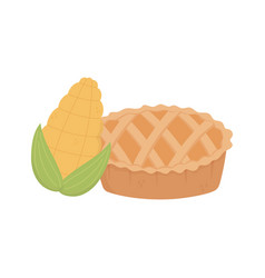 happy thanksgiving day sweet pie and corn vector image